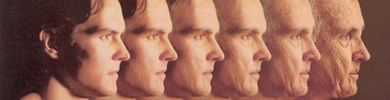photo showing the stages of aging in a mans face