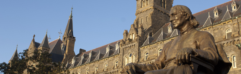 Campus statute in front of Healy hall