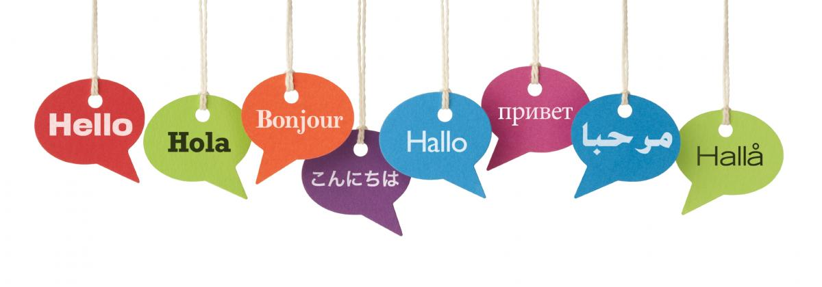 "images of colorful hanging tags showing ""Hello""in many other languages"