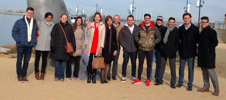 Members of the neurology residency program in front of the National Harbor.