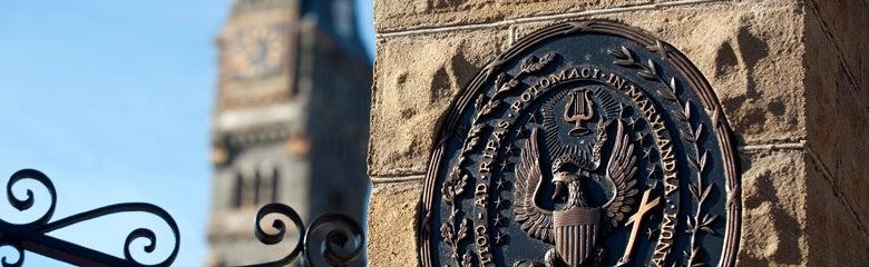 Georgetown emblem on a building.