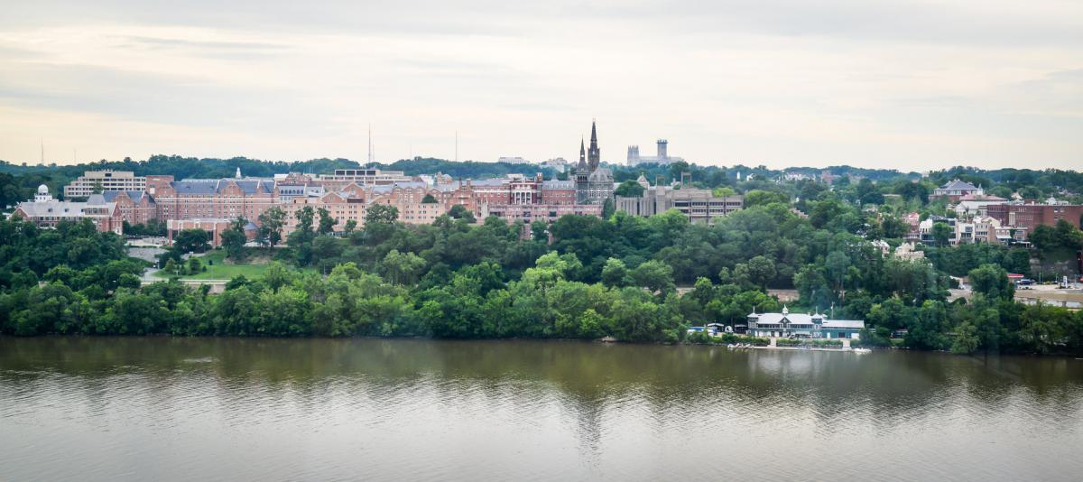 Georgetown University and the Potomac river.